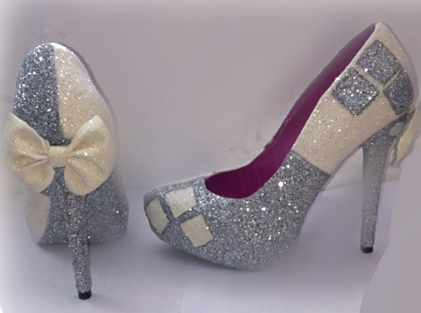 sparkly white ivory silver harley quinn heels batman wedding bride prom