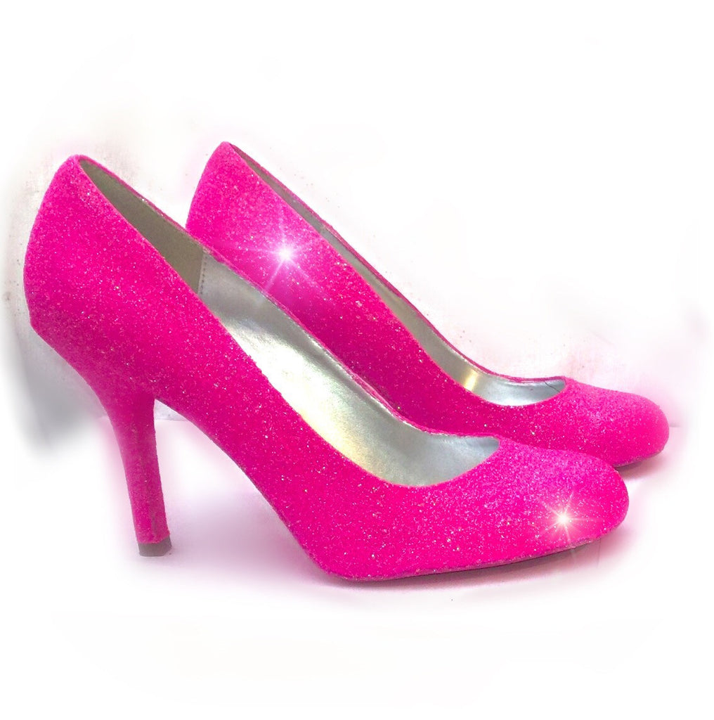 Women's Sparkly Hot Pink Glitter high & Low Heels wedding bride Pumps shoes
