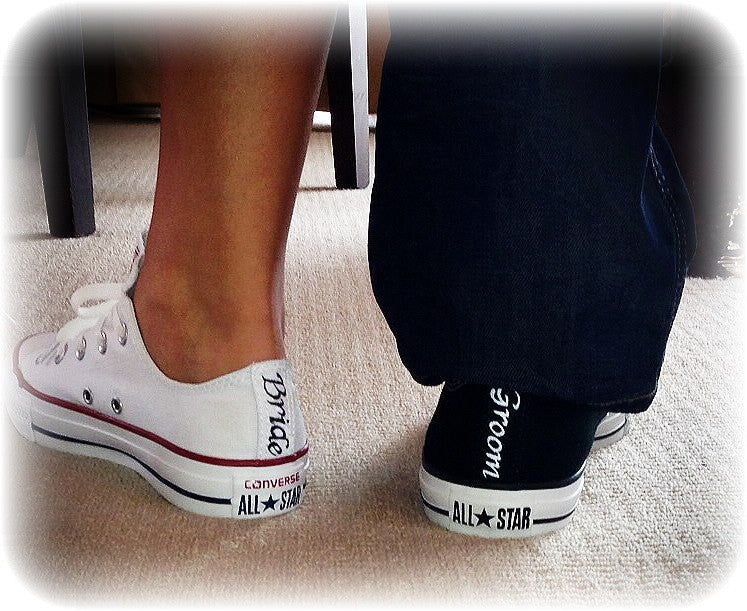 d9e0e973b52df Mens Converse All Star Black White Classic Sneakers Shoes Personalized  wedding Groom