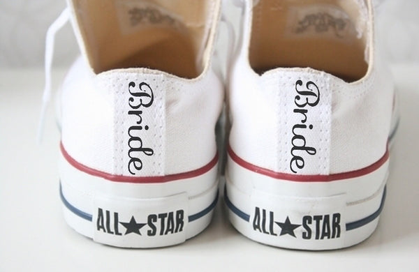 Converse All Star Classic Canvas Sneakers Bride Wedding Personalized Shoes - White - Glitter Shoe Co
