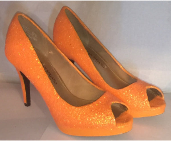 Sparkly Orange Tangerine Glitter high & low Heels Stiletto wedding bride shoes - Glitter Shoe Co