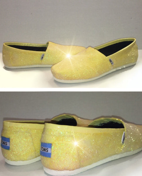 Womens Sparkly Glitter Toms Flats shoes bridal Bride Wedding Comfortable Canary Daisy Yellow - Glitter Shoe Co