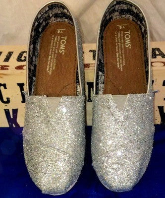 Womens Sparkly Silver Glitter Toms Flats shoes bridal Bride Wedding Comfortable - Glitter Shoe Co