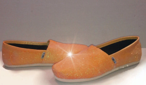 Womens Sparkly Glitter Toms Flats shoes bridal Bride Wedding Comfortable Tangerine Orange - Glitter Shoe Co