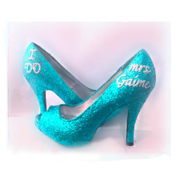 Sparkly Turquoise Teal Glitter high & low Heels wedding bride Peep toe or Pumps shoes Personalized