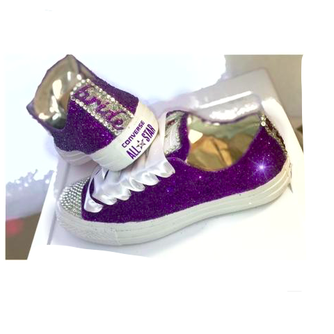 Womens Glitter Bling Crystals Converse All Stars Purple Bride Wedding bridal shoes Prom - Glitter Shoe Co