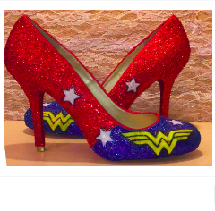 SuperHero Glitter high & low Heels Stiletto shoes Wonder Woman wedding bride