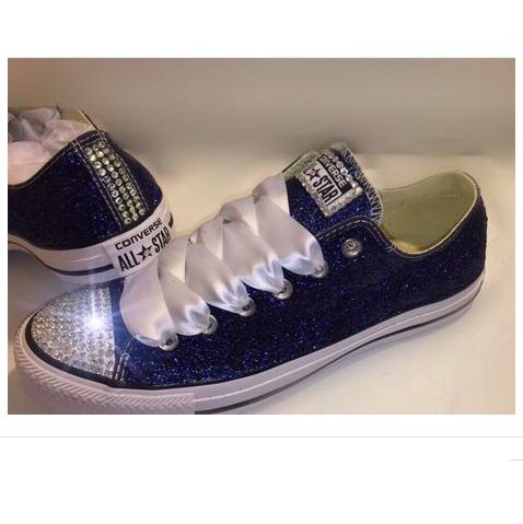 Navy Blue Glitter Crystals Converse All Stars low top wedding bride shoes