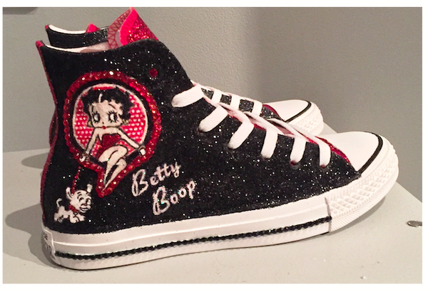 Womens Sparkly Glitter Crystals Betty Converse All Stars Black Red Boop high top shoes