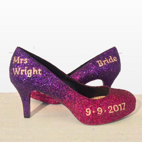 Women's Sparkly Purple Ombre Glitter Heels wedding bride shoes Personalized