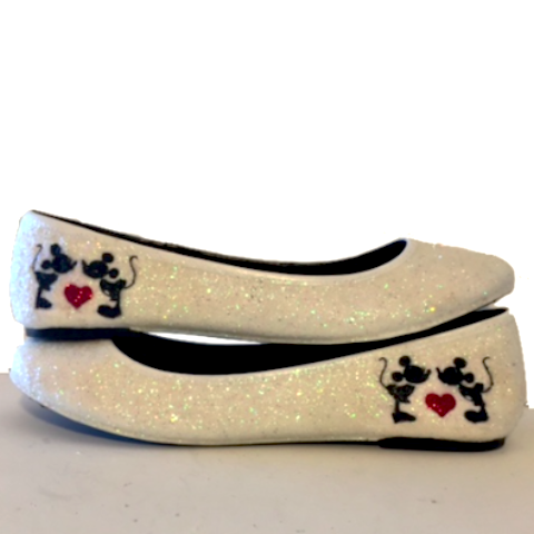 Women's Sparkly Ivory or White Glitter ballet Flats bride wedding shoes Minnie