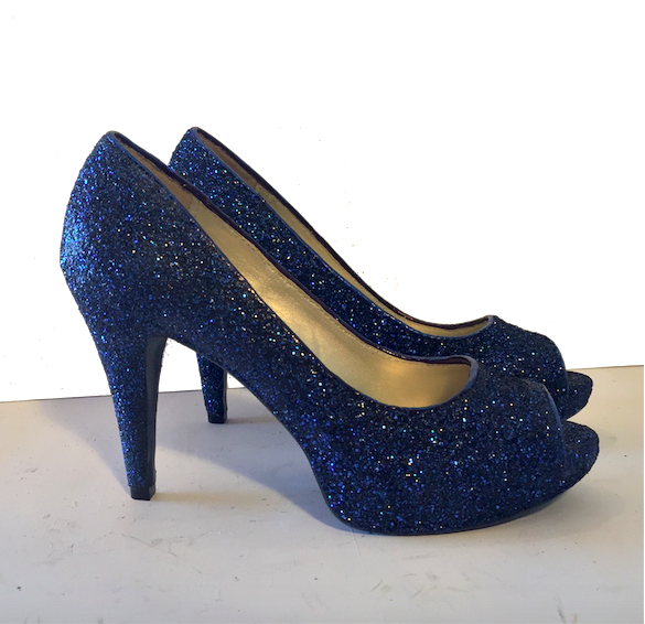 2550b4dea7b9 Sparkly Navy Blue Glitter Peep Toe high low Heels wedding bride shoes –  Glitter Shoe Co