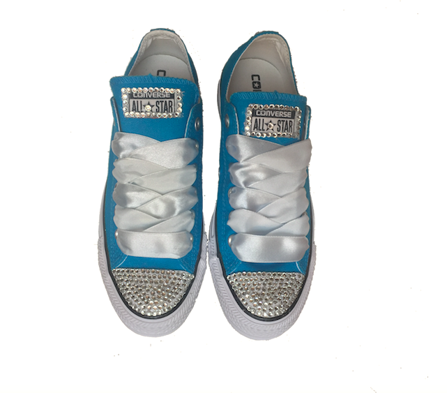 Women's Wedding Converse All Star Crystals Sneakers Shoes Soar Blue Bride wedding gift