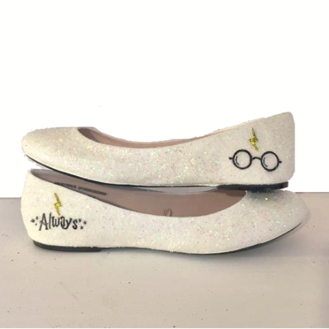 Women's Sparkly Ivory or White Glitter ballet Flats bride wedding shoes Harry Potter