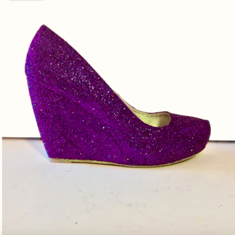 Women's Sparkly Purple Plum Glitter wedge Heels wedding bride prom shoes Personalized