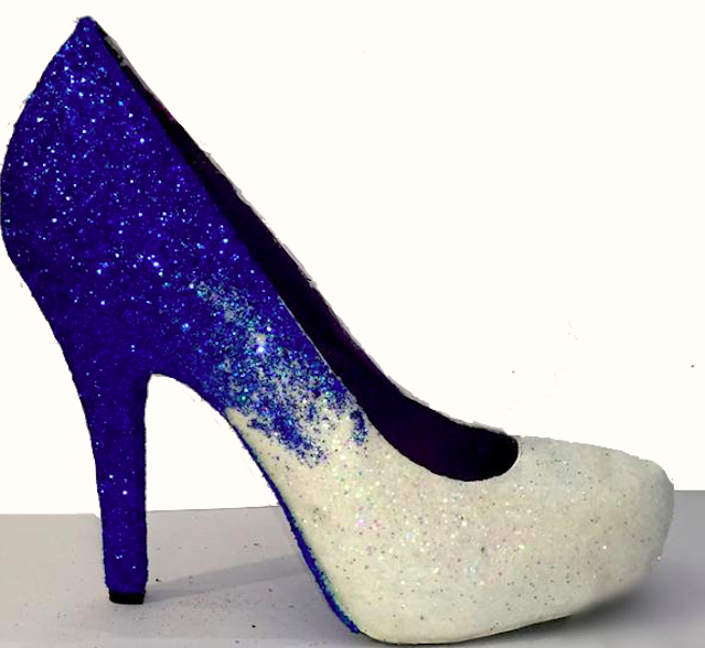 Women's Sparkly Royal Blue White ombre Glitter High Low Heels wedding bride Pumps shoes