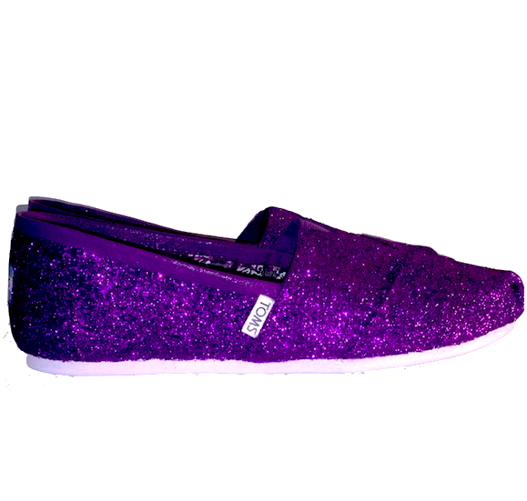 Womens Sparkly Glitter Toms Shoes Purple Plum Regency Lapis Eggplant wedding bride bridal