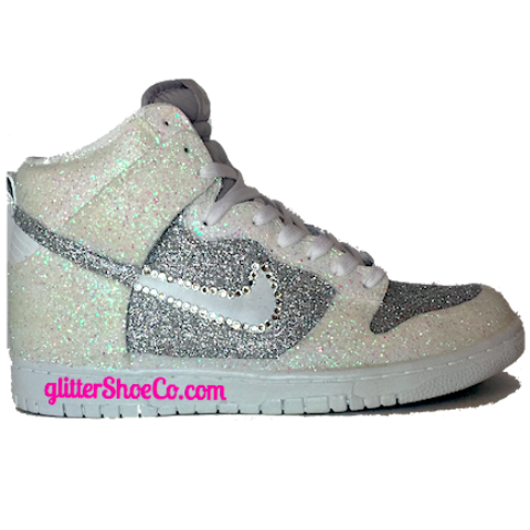 Womens Nike Dunk Shoes Swarovski Crystals Bling White Silver Sparkly Glitter Wedding Bride Gym Prom Sneakers