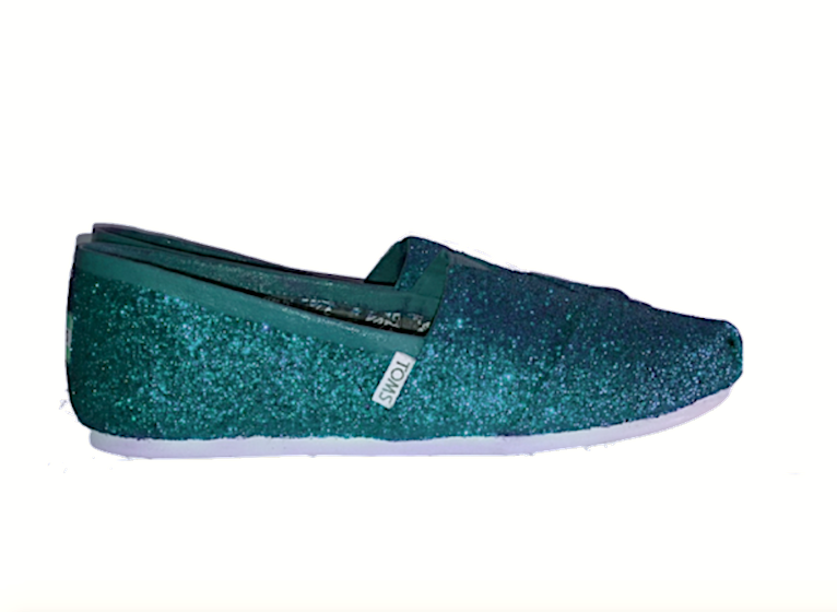 Women's Sparkly Teal Blue Green Glitter Toms wedding bride gift shoes comfortable flats