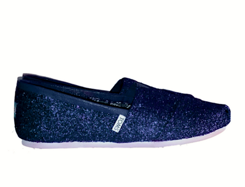 Toms Navy Blue Glitter Shoes