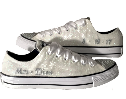 Womens Sparkly White Glitter Bridal Crystals Converse All Stars Bride Wedding Gift shoes