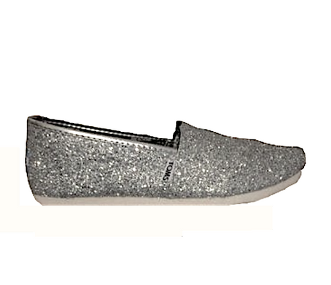 Womens Sparkly Silver Glitter Toms Flats shoes bridal Bride Wedding Comfortable