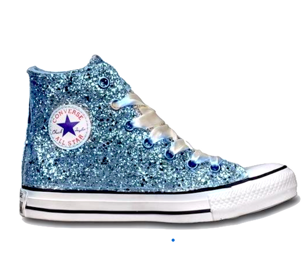 Womens Sparkly Glitter Converse All Stars Baby Blue High Top Cinderella wedding bride shoes
