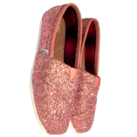 Women's Toms sparkly Rose Gold Pink glitter wedding bride bridal shoes comfortable