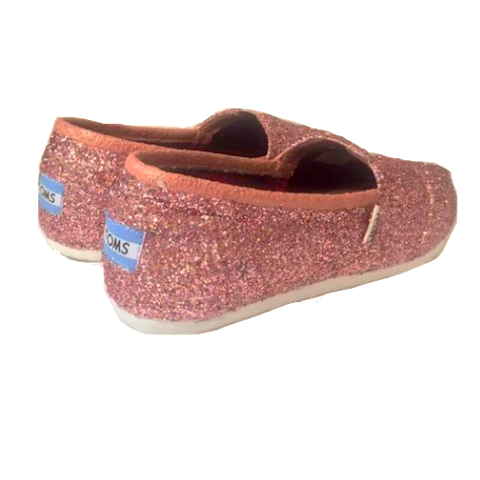 Women's Toms sparkly Rose Gold Pink glitter wedding bride gift flat shoes comfortable