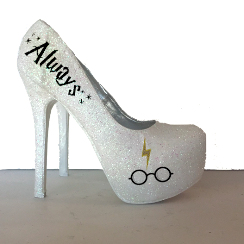 Women's Sparkly Ivory or White Glitter Heels bride wedding shoes Harry Potter