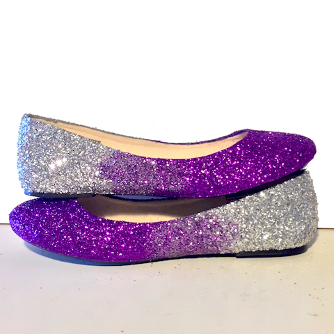 Women's Sparkly Purple Silver Ombre Glitter Ballet Flats Wedding Bride Bridesmaid Shoes