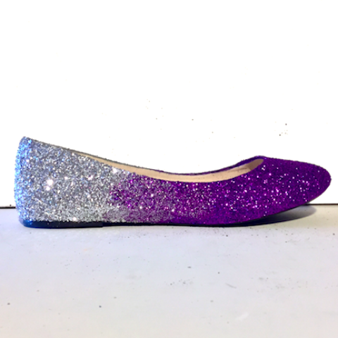 Silver Flats For Wedding.Women S Sparkly Purple Silver Ombre Glitter Ballet Flats Wedding Bride Bridesmaid Shoes
