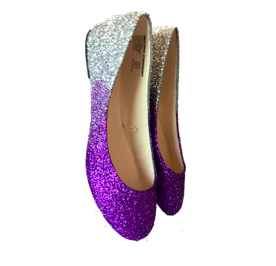 Women's Sparkly Purple Silver Ombre Glitter Ballet Flats Wedding Bride Comfortable Shoes
