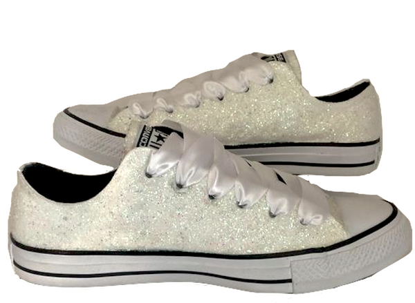 Womens Sparkly White or Ivory Glitter Converse All Stars Bride Wedding gift Shoes Sneakers