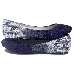 Women's Sparkly Royal Blue Silver Ombre Glitter Ballet Flats Wedding Bride Bridesmaid Shoes