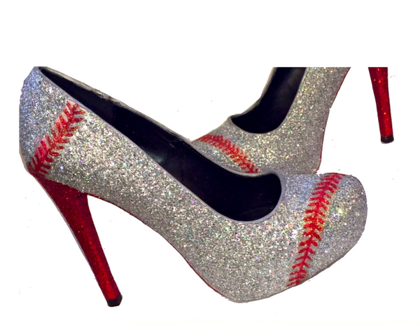 Womens Sparkly Silver Red Glitter BASEBALL stitch Heels Pumps Wedding Bride shoes