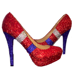 Sparkly Red Blue Silver Glitter Heels Football Baseball Sports shoes Patriots Giants Bills