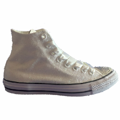 Women's Sparkly White Ivory Glitter Converse All Star high top bling wedding bride shoes