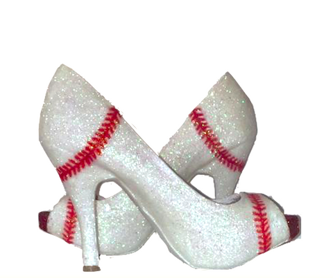 Womens Sparkly white or Ivory Glitter BASEBALL stitch Heels Pumps Wedding Bride shoes