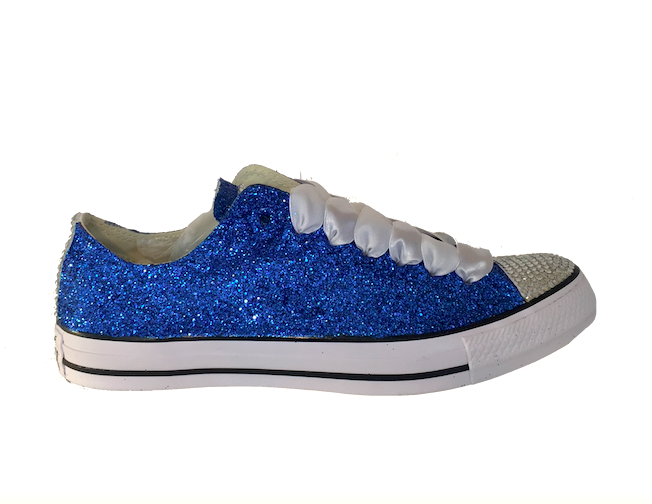 38e8781ea3339 Womens Sparkly Royal Blue Glitter Crystals Converse All Star wedding bride  prom shoes