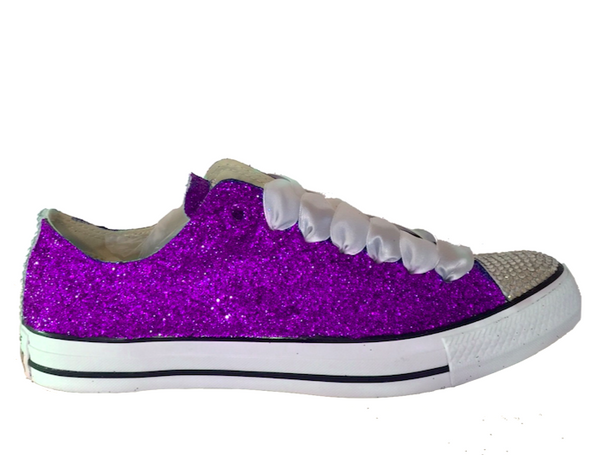 Womens Sparkly Purple Glitter Crystals Converse All Star wedding bride prom shoes
