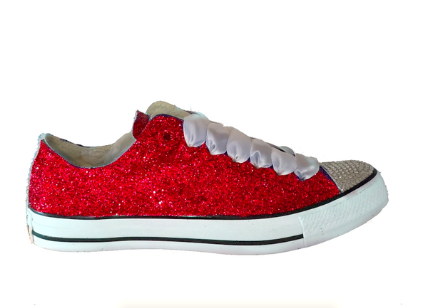 Womens Glitter bling Crystals Converse All Stars Red shoes wedding bride prom pin up