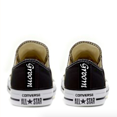 Mens Converse All Star Black Mono Classic Sneakers Shoes Personalized wedding Groom
