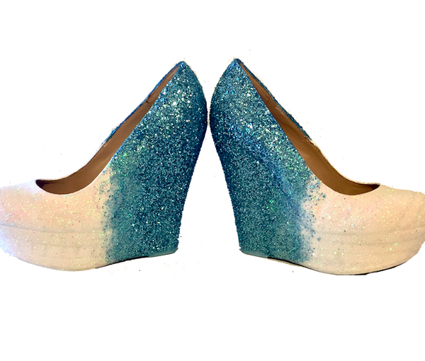 Women's Sparkly White Baby Blue ombre Glitter wedge Heels wedding bride comfortable shoes