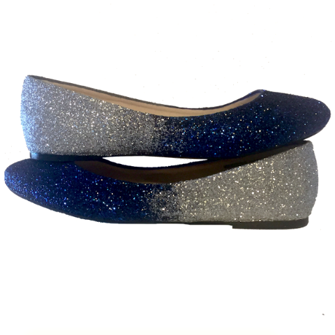Womens Sparkly Navy Blue Silver Ombre Glitter Ballet Flats Wedding Bride Shoes