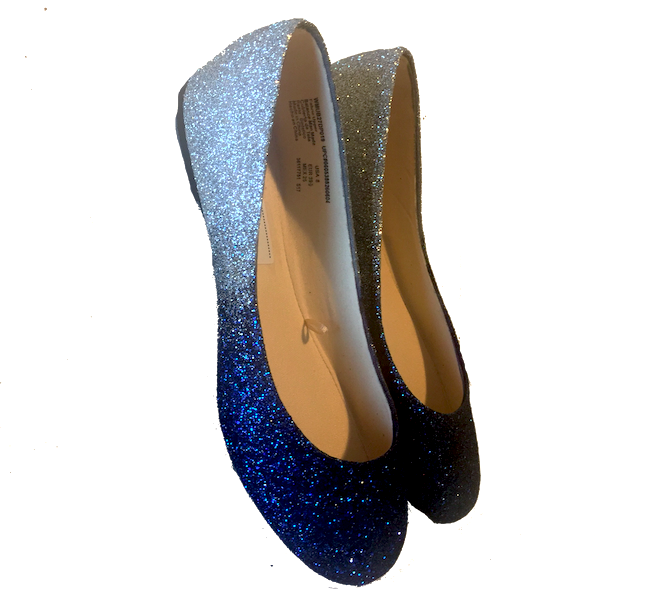73ec13a14bc4 ... Womens Sparkly Navy Blue Silver Ombre Glitter Ballet Flats Wedding  Bride Shoes ...