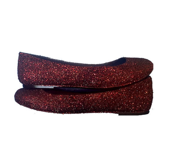 Women's Sparkly Glitter Ballet Flats Wedding Bride Shoes Burgundy Maroon