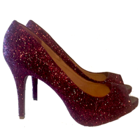 Sparkly Burgundy Maroon Peep Toe Glitter Heels wedding bride shoes prom pumps