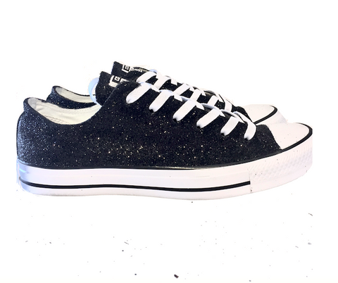 Women's Sparkly Black Glitter Converse All Stars Bride Wedding bride shoes Sneakers