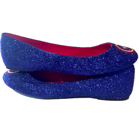Sparkly SuperHero royal blue navy Glitter ballet flats shoes Captain America wedding bride